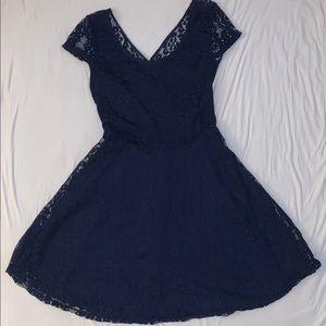 Wet seal navy blue lace cross back dress NWOT